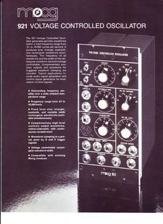 MATRIXSYNTH: 1976 VINTAGE MOOG SYNTHESIZER 921 VCO SPEC SHEET/BROCHURE