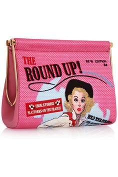 Charlotte Olympia | Round Up Maggie embroidered crepe de chine clutch | NET-A-PORTER.COM