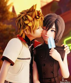 Here you go, two cuties~ ______________________ credits: Baka-neearts ; KylieStylish ______________________ F. All right reser. Xion Kingdom Hearts, Kingdom Hearts Funny, Kingdom Hearts Characters, Kh 3, Heart Images, Final Fantasy, Videogames, Deviantart, Gaming