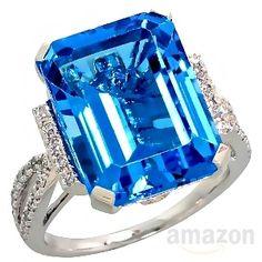 14k White Gold Large Stone Ring, w/ 0.23 Carat Brilliant Cut Diamonds & 13.00 Carats 16x12mm Emerald Cut Blue Topaz Stone