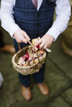 Basket Full of Wedding Confetti | Photographer: Captured by Katrina | Venue: Dewsall Court | Florist: Great British Florist | Wedding Dress: Cymbeline Paris | Grooms Suit: Ted Baker | Bridesmaids: Coast