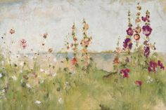 Hollyhocks by the Sea Art Print at AllPosters.com