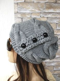 Womens Hat -  Knit hat -  Cable knit hat  - Slouchy Hat with Button -  Silver Gray   Hat -   Winter fashion Accessories - Winter Hat