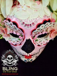 """""""Harajuku"""" Japanese-inspired Dia de Los Muertos mask.  Made with silk flowers, doilies, lace, glitter, acrylic & spray paint, clear varnish, and Swarovski crystals."""