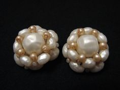 Vintage White Faux Pearl Beaded Round Cluster Clip by ditbge, $6.25