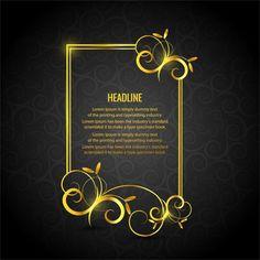 Marco floral dorado sobre un fondo negro vector gratuito Studio Background Images, Frame Background, Background Templates, Backgrounds Free, Black Backgrounds, Typography Logo, Lettering, Luxury Logo, Happy New Year 2019