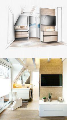 Innenarchitektur Zeichnung Perspektive Handzeichnung Coffein Concepts Bad Bathroom