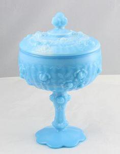 Vintage FENTON BLUE SLAG MILK GLASS Candy Dish Cabbage Rose Covered Bowl Swirl