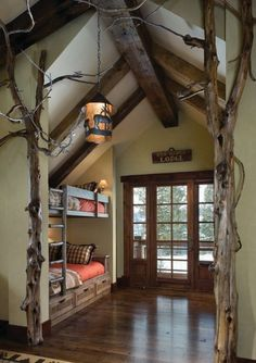 Lodge bedroom with bunk beds and interior tree decoration. Bunk Rooms, Bunk Beds, Loft Beds, Lodge Bedroom, Forest Bedroom, Woodsy Bedroom, Nature Bedroom, Bedroom Retreat, Sweet Home