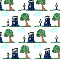Doctor Who Inspired Toile Design fabric by bohobear on Spoonflower - custom fabric