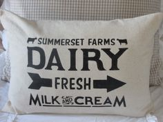 Dairy Pillow Cover by BeiFioriEmbellish on Etsy