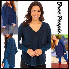 """SOLD FREE PEOPLE Tunic Pullover RETAIL PRICE: $108  NEW WITH TAGS  ***Model photos from WWW.Lyst.com FREE PEOPLE Tunic Pullover   * Oversized loose knit silhouette * Incredibly soft 'washed' fabric w/exposed seams * Slouchy shoulders, V-neck, long sleeves & raw trim * About 25-28"""" long, hi-lo hem   Fabric: Cotton & Polyester Color: Indigo Chambray Blue  No Trades ✅Offers Considered*/Bundle Discounts✅ *Please use the blue 'offer' button to submit an offer. Free People Sweaters Crew & Scoop…"""