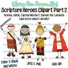 CLIPART Part 2: Book of Mormon Stick Figure Scripture Heroes (Ammon, Abish, Captain Moroni & Samuel the Lamanite)
