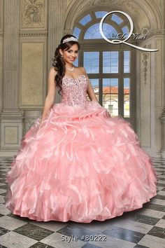 Hermoso vestido Q by Davinci style 80222 Elegant Organza and sequins gown in flamingo pink with a beautifully beaded bodice and glittery ruffles! #quinceanera #dresses #sweet15 #partydress #quinceañera