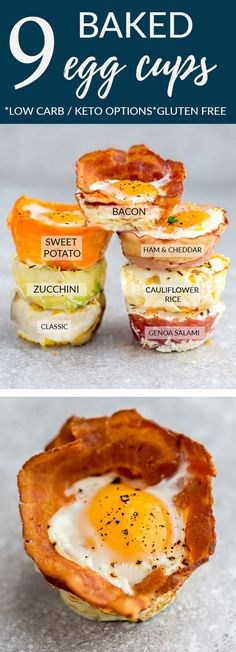 Baked Egg Cups - 9 different ways are the perfect low carb and protein packed breakfast. Best of all, they are super simple to customize and come together in less than 30 minutes! Bacon, Cauliflower & Cheese, Classic, Genoa Salami, Ham & Cheddar, Proscuitto, Sweet Potato, Turnip and Zucchini with keto friendly options. #eggs #breakfast #lowcarb #keto #mealprep #ham #bacon #cauliflower #zucchini #proscuitto #salami