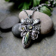 Silver Labradorite Prehnite Necklace, Oxidised Sterling Silver Garnet Necklace, Gemstone Metalwork Pendant - Inflorescence Pendant in Green