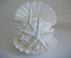 Shell Coral Starfish Pearl Beach Theme Wedding Cake Topper, Coral Shell Starfish Wedding Decor, Clam Shell Style Cake Top filled with Pearls by SeashellBeachDesigns on Etsy