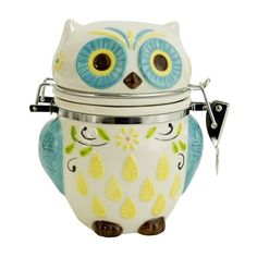 Boston Warehouse Hinged Jar with Floral Owl Design