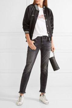 R13 - Boy Skinny Frayed Mid-rise Slim Boyfriend Jeans - Charcoal - 25