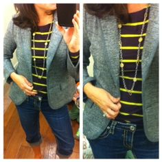 Great finds:  striped tee and tweed blazer.