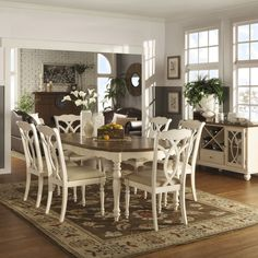 Shayne Country Antique Two-tone White Extending Dining Set by iNSPIRE Q Classic (With 1 Dining Table and 6 Side Chairs), Brown Dining Room Sets, Dining Room Design, Dining Chair Set, Dining Room Furniture, Dining Room Table, Dining Area, Furniture Decor, White Extending Dining Table, Extendable Dining Table
