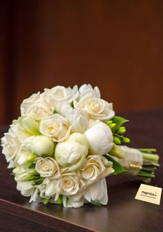 This bouquet is made of roses, freesias and white peonies. Floral Wedding, Wedding Bouquets, Wedding Flowers, White Peonies, Exotic Flowers, Magnolia, Floral Arrangements, Floral Design, Centerpieces