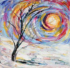 Original Oil Winter Sunrise Landscape palette knife painting by Karensfineart