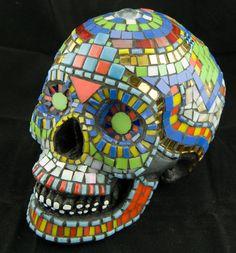Mosaic Mexican Sugar  Skull. Life Size. Day of the Dead. Dia De Los Muertos. Original Art, OOAK. Featured in 20 Treasuries.. $425.00, via Etsy.