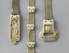 A 15th century belt of an abbess. Grey wool belt, with ivory fittings. (C) RMN-Grand Palais (musée de Cluny - musée national du Moyen-Âge) / Jean-Gilles Berizzi.