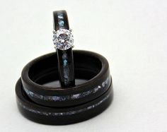Wood Engagement ring with matching wedding bands Ebony with mother of pearl inlay Bridal jewelry
