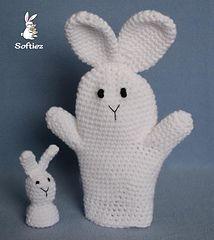 Bunny Puppets - free crochet hand puppet pattern by Lisa Bosch / Softiez.