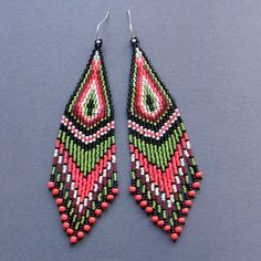 Long Colorful Tribal / Boho Seed Bead Earrings by Anabel27shop