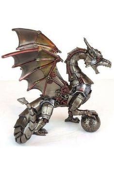 Steampunk Dragon Holding Orb Sphere Statue Sculpture Bronze Finish (affiliate)