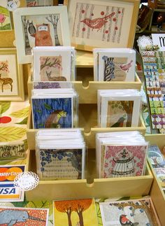 I love this craft show card display made by using pull out drawers - you could store your craft show wares in the drawers to transport it - super cute!