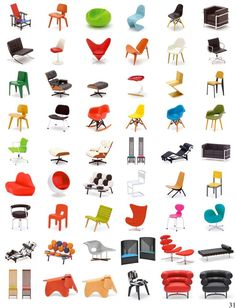 Name five of these chair designs, and win a free copy of The Vanishers by Heidi Julavit.  First five correct answers win. Poster of mini chair models by REAC Japan. Do you know what you're sitting on?