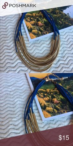 Multi Layered Necklace | Ambiance SF Stylish all season navy blue faux suede tassel necklace. Has gold metallic piping and an adjustable clasp ✨✨💞 Ambiance SF Jewelry Necklaces