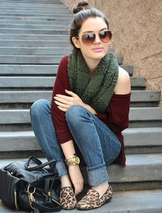 fall style: Jeans with leopard smoking loafers and an oxblood / burgundy off the shoulder top and an olive green cowl scarf. Accessorize with gold jewelry and shades, and a black bag.