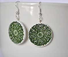 Stamped lace pattern polymer clay earrings by twocatsboutique, $15.00