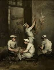 """ Théodule Ribot (French, - ""The Cooks"" Oil on canvas, x cm. The Burrell Collection, Glasgow. Colorful Art, Food Painting, Your Paintings, Oil On Canvas, Painting, Illustration Art, Art, Life Art, Art History"