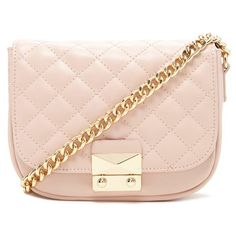 Forever 21 Quilted Faux Leather Crossbody ($23) ❤ liked on Polyvore featuring bags, handbags, shoulder bags, forever 21, quilted handbags, chain strap crossbody, pink purse and chain strap purse