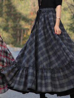 Cotton Dress – Wotoba skirt Plaid Skirts Vintage Cotton Long Skirt for Women Robes Vintage, Vintage Skirt, Vintage Dresses, Vintage Outfits, Long Skirt Outfits, Modest Outfits, Modest Dresses, Dress Long, Red Skirts