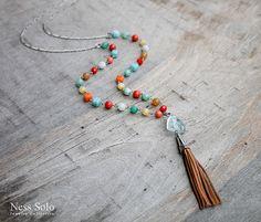 Multicolor necklace Bohemian jewelry Leather tassel by NessSolo