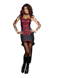 Sexy Le Vamp Fatale Gothic Vampiress Dress Costume Adult