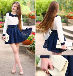 """Check out Renato Almeida's """"Kristine's Collection Lace Navy Blue Skirt, Www.Arafeel.Com Beige Blouse With Navy Peter Pan Collar, Bei"""" Decalz @Lockerz"""