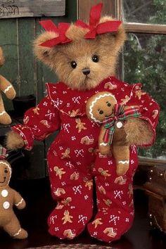 Ginny Gingerbread::It wouldn't be Christmas w/out a Teddy or Two. Ginny Gingerbread::It wouldn't be Christmas w/out a Teddy or Two. Vintage Teddy Bears, My Teddy Bear, Cute Teddy Bears, Teddy Hermann, Christmas Teddy Bear, Boyds Bears, Love Bear, Tatty Teddy, Bear Doll