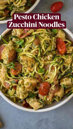 Zucchini Noodle Recipes, Zuchinni Recipes, Zucchini Noodles, Healthy Chicken Recipes, Healthy Dinner Recipes, Whole 30 Recipes, Clean Recipes, Low Carb Recipes, Cooking Recipes