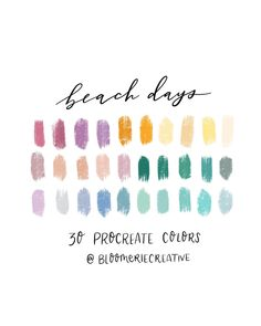 Beach Days / festive colors / Spring / Summer / Cheerful / Procreate color palette / Procreate swatches by BloomerieCreative on Etsy Colour Pallete, Colour Schemes, Color Combos, Color Palettes, Plans Architecture, Architecture Design, Design Seeds, Color Balance, Balance Design