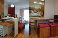 Que legal o aproveitamento debaixo da mesa que transpassa o aparador.                                              ideia ótima para pequenos espaços www.bbel.com.br