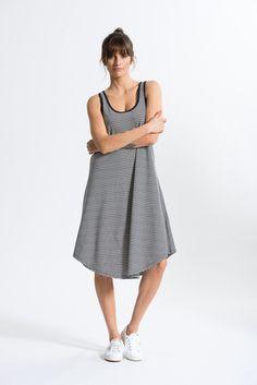 Striped Singlet Dress in Navy