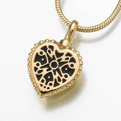 Small Filigree Heart Pendant Cremation Jewelry in 14K Yellow Gold